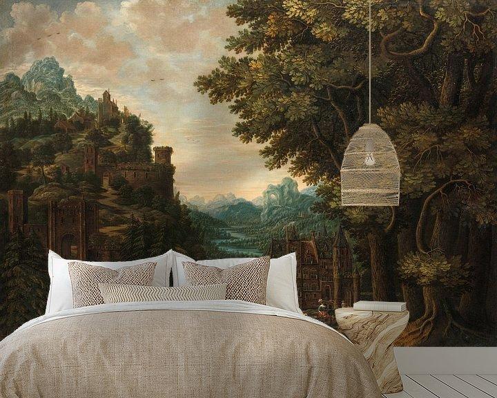 Sfeerimpressie behang: Bergachtig landschap met rivierdal en kastelen, Jan Meerhout