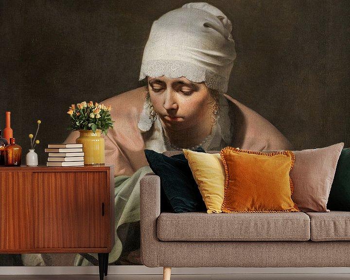 Sfeerimpressie behang: Een jonge vrouw warmt haar handen boven een vuurtest, Caesar Boëtius van Everdingen