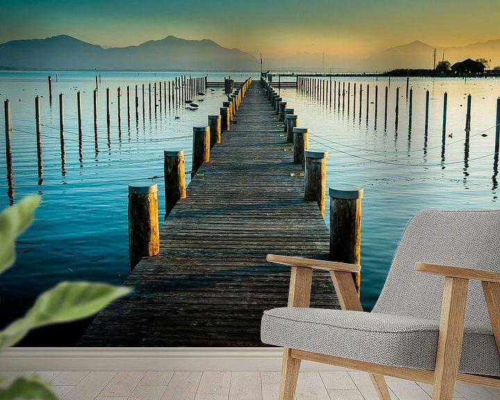 Beispiel fototapete: Steg im Sonnenuntergang am Chiemsee von Holger Debek