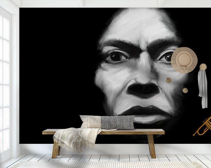 Sfeerimpressie behang: Miles Davis Tutu van Jan Brons