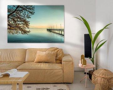 Chiemsee Sonnenuntergang mit Baum und Steg von Holger Debek