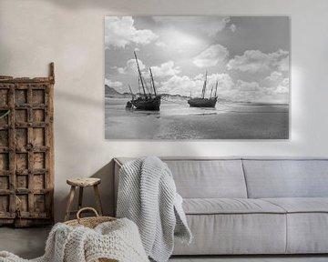 Boote an Land Nieuwpoort Belgien der 1920er Jahre von Timeview Vintage Images