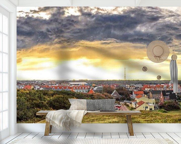 Sfeerimpressie behang: Panorama foto mooie wolkenlucht boven de Koog, Texel / Panoramic photo stunning sky above de Koog, T van Justin Sinner Pictures ( Fotograaf op Texel)