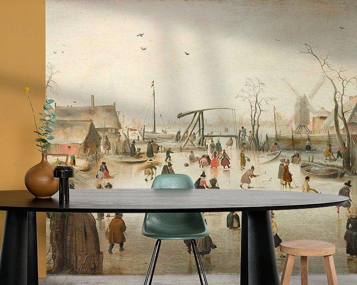 Sfeerimpressie behang: Schaatsenrijden in een dorp, Hendrick Avercamp