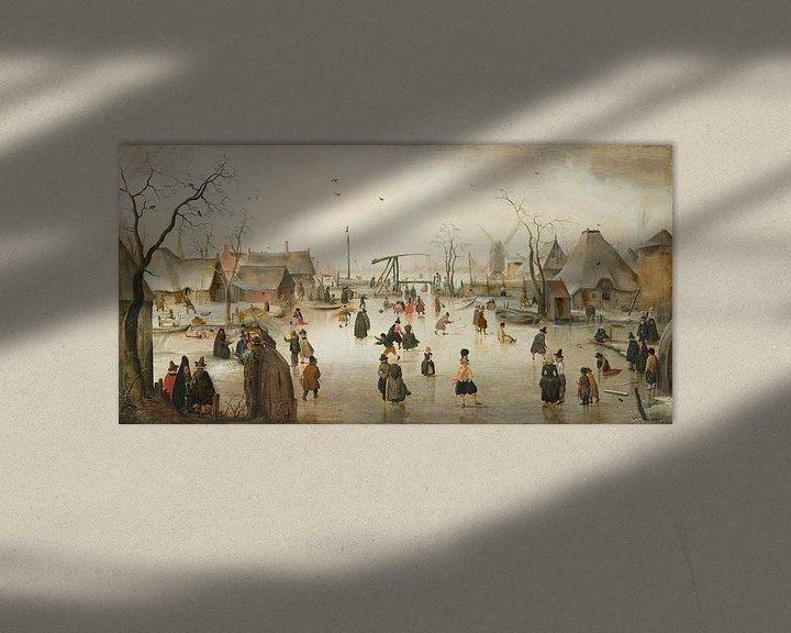 Sfeerimpressie: Schaatsenrijden in een dorp, Hendrick Avercamp