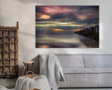 Zonsondergang Opaalkust Wissant Frankrijk II van Watze D. de Haan