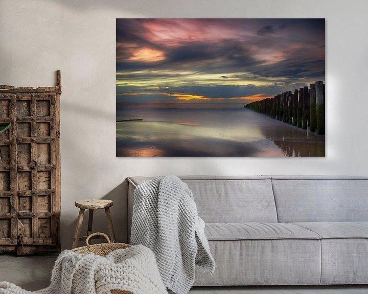 Sfeerimpressie: Zonsondergang Opaalkust Wissant Frankrijk II van Watze D. de Haan