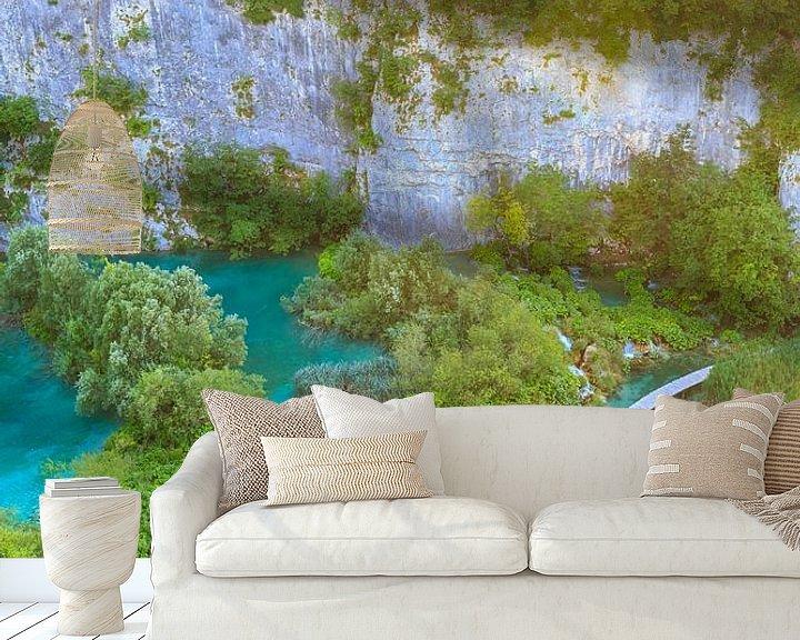 Sfeerimpressie behang: Plitvice lakes and waterfalls, Croatia van Sander Meertins