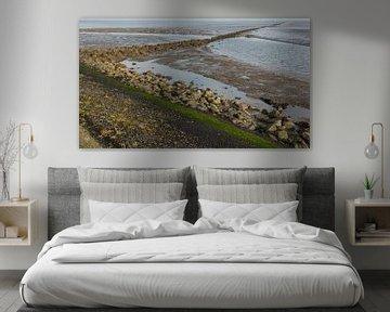 De dijk en dammen bij Paessens-Moddergat in de drooggevallen Waddenzee. van Margreet van Beusichem