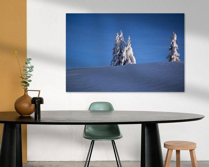 Sfeerimpressie: Een winterlandschap in de blauwe koude lucht van Barbara Koppe