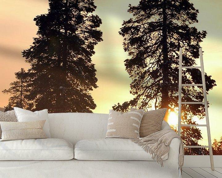 Sfeerimpressie behang: Zweedse zonsondergang van Barbara Koppe