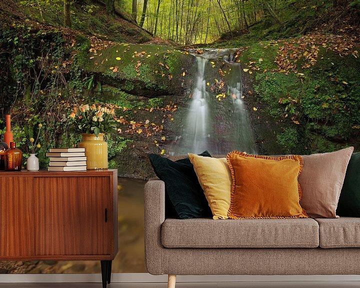 Sfeerimpressie behang: Waterval  Butzerbachtal tijdens de herfst in de Eifel, Duitsland. van Rob Christiaans
