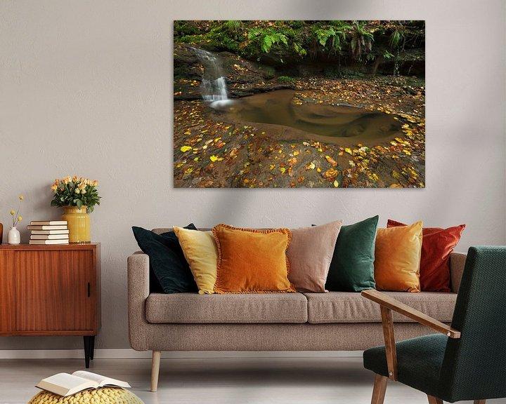 Sfeerimpressie: Waterval  Butzerbachtal tijdens de herfst in de Eifel, Duitsland. van Rob Christiaans