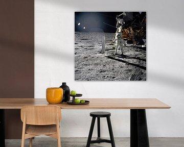Aldrin naast het Solar Wind Experiment van Moondancer .