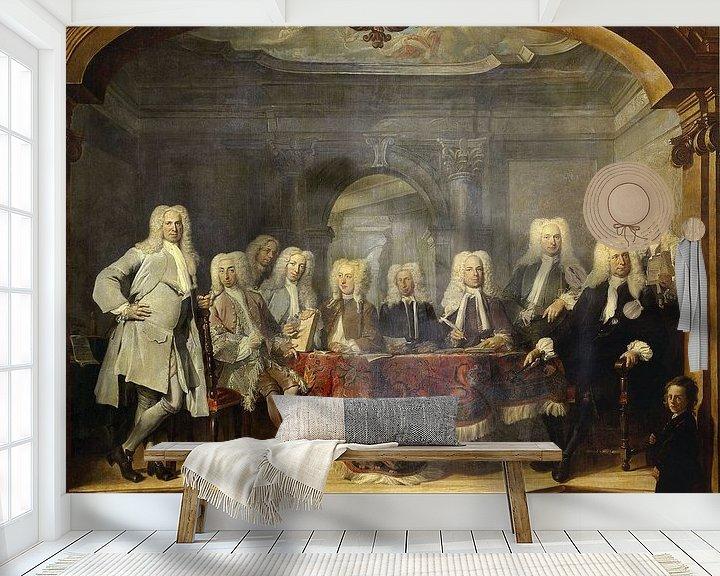 Sfeerimpressie behang: De regenten van het Aalmoezeniersweeshuis te Amsterdam, 1729, Cornelis Troost