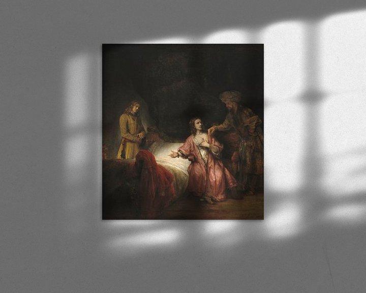 Sfeerimpressie: Potiphars vrouw klaagt Jozef aan bij haar man, Rembrandt