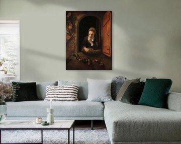 """Mädchen am Fenster oder """"das Grübeln"""", Nicolaes Maes"""