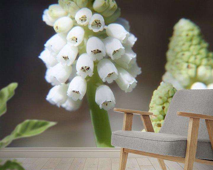 Sfeerimpressie behang: witte druifjes op een steeltje van Marianne Bras