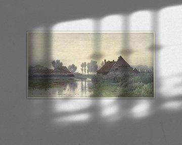 Bauernhäuser am Wasser bei Morgennebel, Paul Joseph Constantin Gabriël