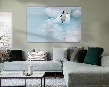 Springen Adelie Pinguin Antarktis sur Eefke Smets