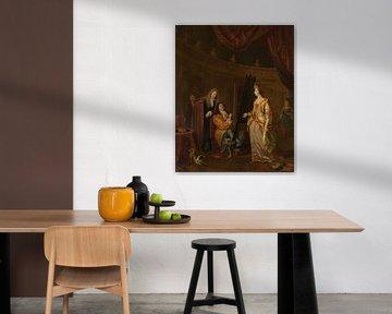 Ein Maler in seinem Atelier, der eine Dame porträtiert, Ludolf Bakhuysen