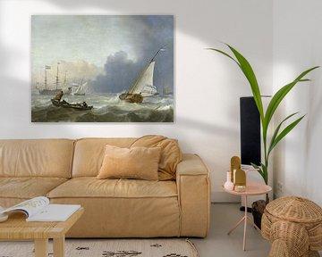 Aufgewühltes Meer mit einer holländischen Yacht, Ludolf Bakhuysen