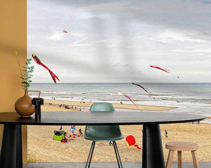 Sfeerimpressie behang: Panorama foto strand van Texel / Panoramic photo Texelbeach van Justin Sinner Pictures ( Fotograaf op Texel)
