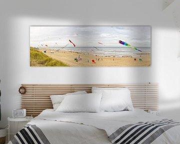 Panorama foto strand van Texel / Panoramic photo Texelbeach van Justin Sinner Pictures ( Fotograaf op Texel)