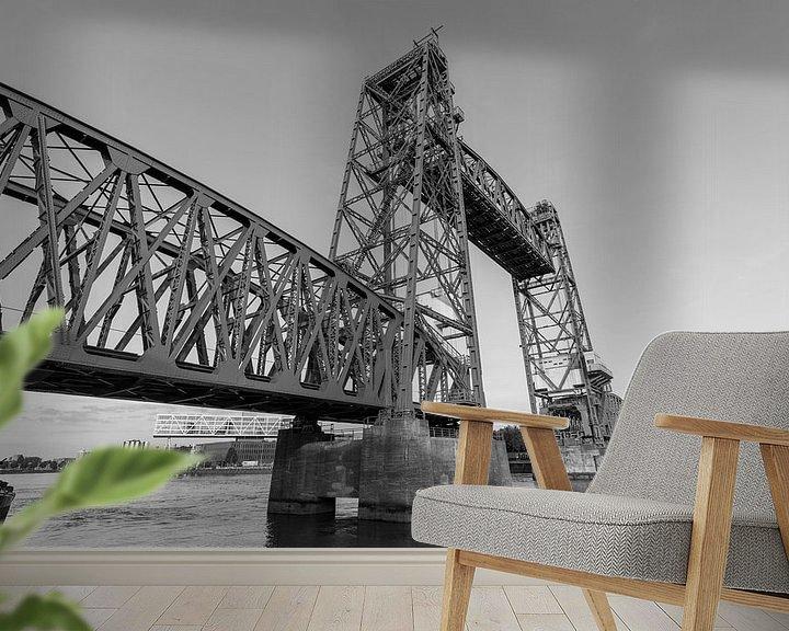 Sfeerimpressie behang: Spoorbrug De Hef in Rotterdam van MS Fotografie | Marc van der Stelt