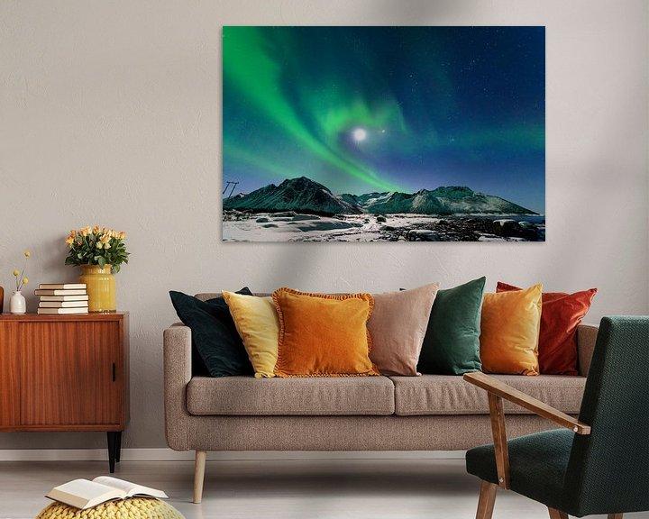 Sfeerimpressie: Noorderlicht, poollicht of Aurora Borealis in de nachtelijke hemel boven Noord Noorwegen van Sjoerd van der Wal