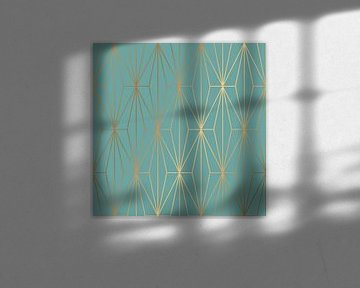 ELEGANT BLUE GOLD PATTERN I van Pia Schneider