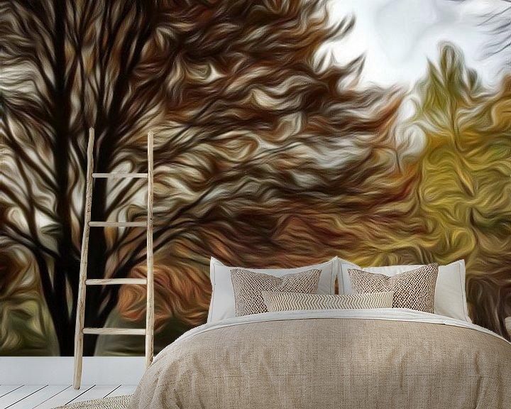 Beispiel fototapete: digitale kunst, bomen in herfstkleuren von Joke te Grotenhuis