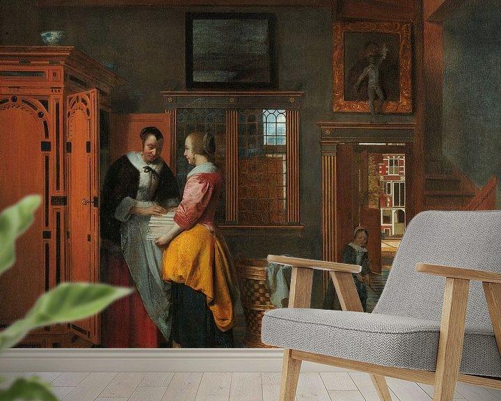 Beispiel fototapete: Interieur mit Frauen an einem Wäscheschrank, Pieter de Hooch