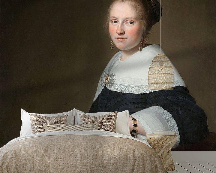 Sfeerimpressie behang: Portret van Maria van Strijp, Johannes Cornelisz. Verspronck