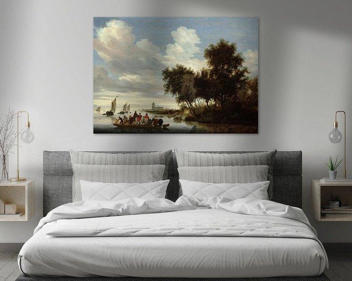 Beispiel: Flusslandschaft mit einer Fähre, Salomon van Ruysdael