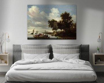 Flusslandschaft mit einer Fähre, Salomon van Ruysdael