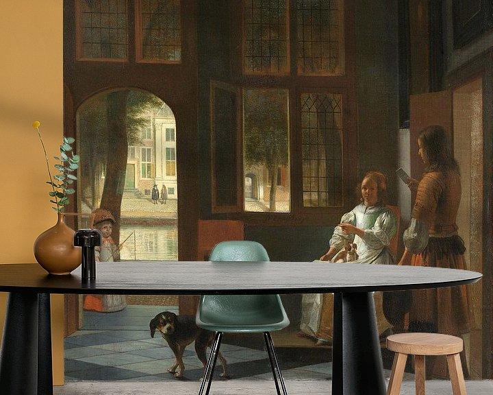 Beispiel fototapete: Die Überreichung eines Briefes auf eienr Veranda, Pieter de Hooch