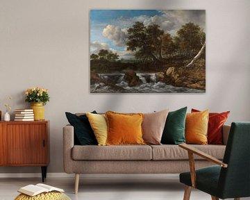 Huegellandschaft mit Wasserfall, Jacob Isaacksz. van Ruisdael