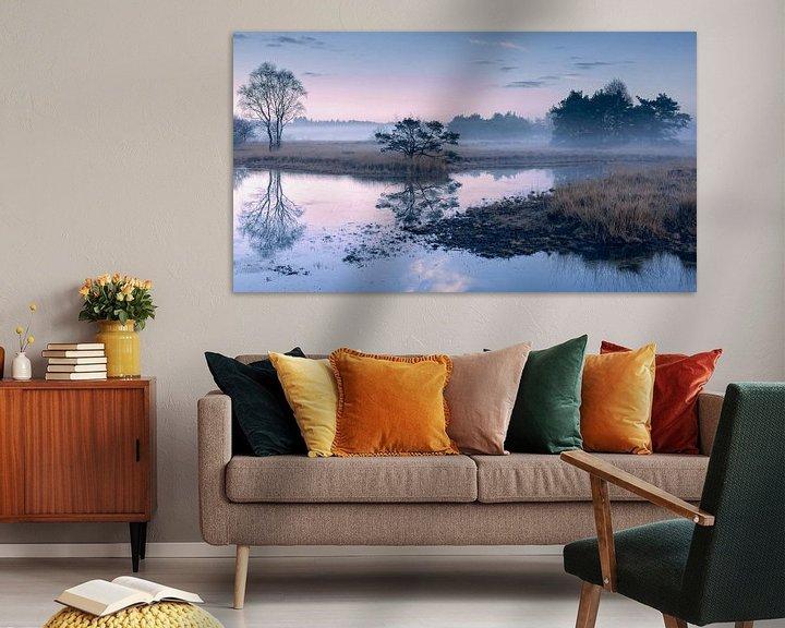 Sfeerimpressie: Twents landschap in mist van Yvonne Kruders
