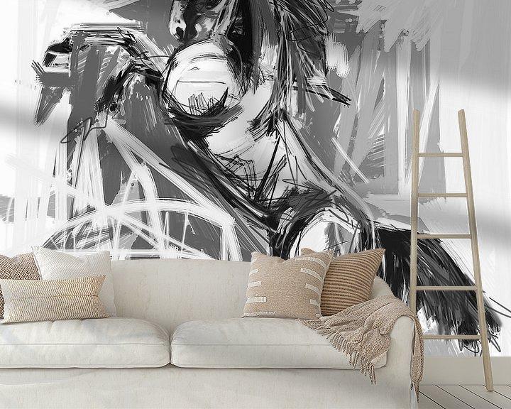 Sfeerimpressie behang: Paard Steigerend Zwart Wit van Go van Kampen