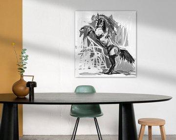 Pferd stolzierend Schwarz Weiß von Go van Kampen