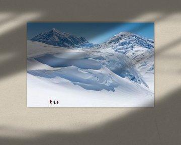 Alpinisten op de gletsjer van Denali, Alaska