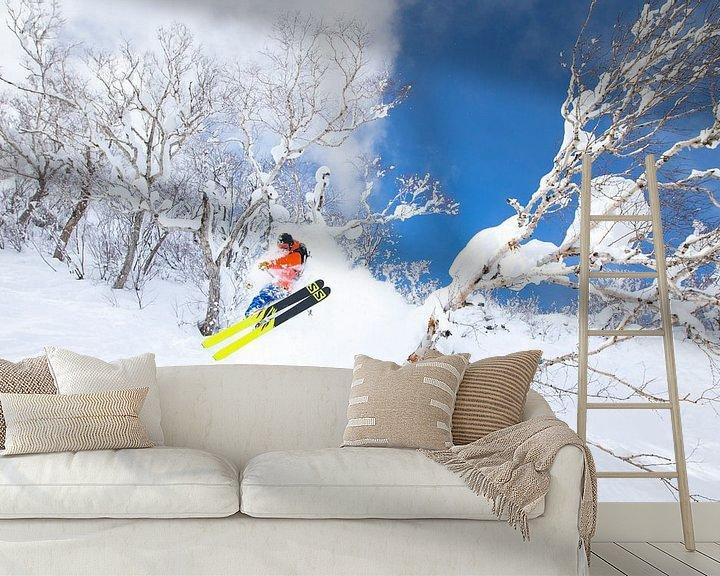 Sfeerimpressie behang: Extreme Powder Ski Niseko Hokkaido Japan van Menno Boermans