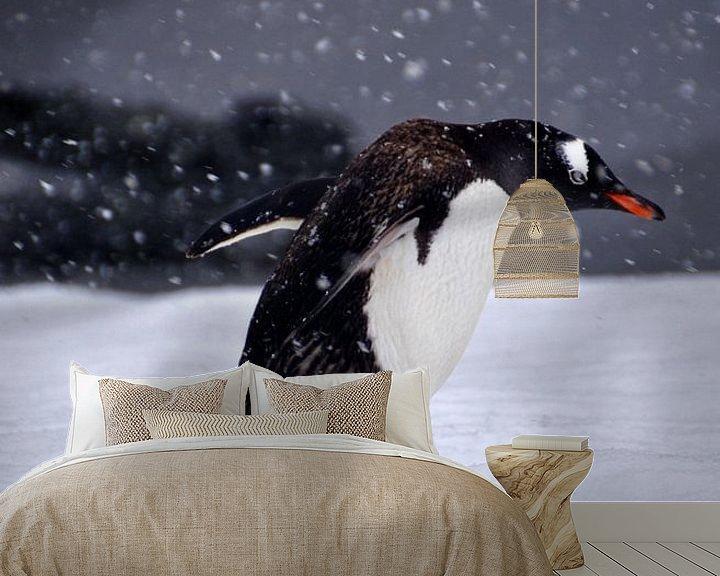 Sfeerimpressie behang: Gentoo pinquïn in strijd met de elementen. van Mignon Goossens