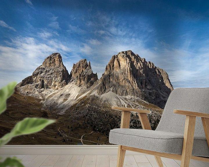 Beispiel fototapete: Spotlight auf Langkofel - Dolomiten, Italien von Thijs van den Broek