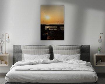 Zonsondergang: Relax op de pier in Nieuwpoort van Christophe Fruyt