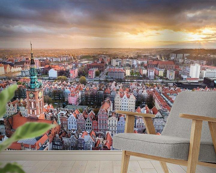 Sfeerimpressie behang: Uitzicht op Gdansk (zonsondergang) van Frenk Volt