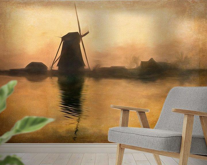 Sfeerimpressie behang: Hollandse molen in het ochtendgloren van Arjen Roos