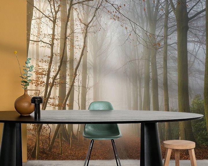 Sfeerimpressie behang: Foggy Woods van Philippe Velghe