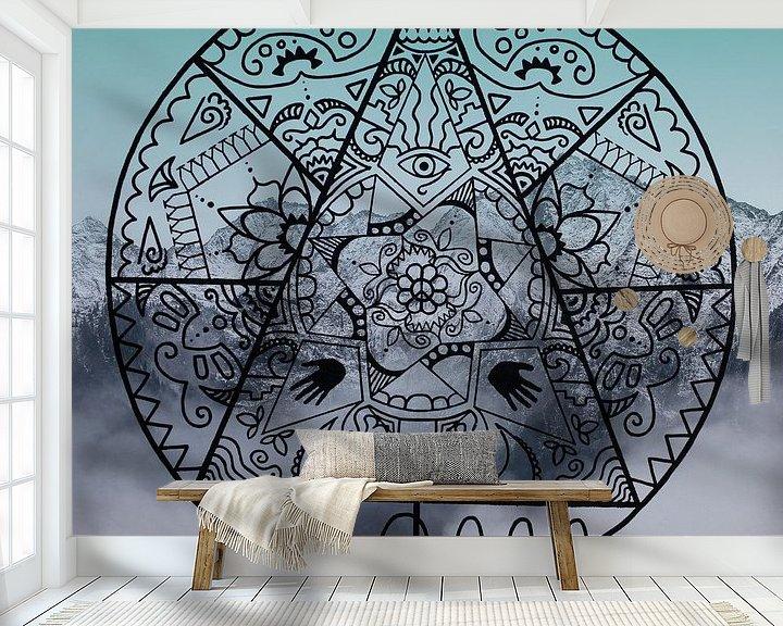 Sfeerimpressie behang: Mandala Mystery van Claudia Maglio